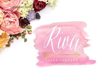 Pink Watercolor logo -  Pretty logo design - calligraphy logo - watercolor logo - Arrow Logo - Modern Script Logo