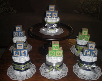 Baby Block Diaper Cake baby shower centerpieces blue and green other colors and sizes too