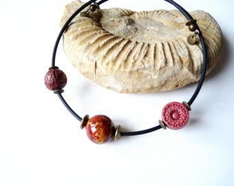 Asymmetrical necklace polymer clay beads, Brown ocher, buna cord, memory wire, ethnic chic