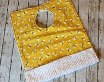 Bumble Bee 1st Birthday Outfit - Pocket Bib - Bee Bib - Large Baby Bib - Toddler Bib - Big Kid Bib - Baby Smash Cake Bib Apron