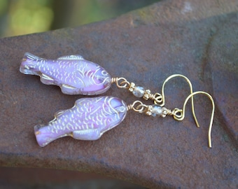 Pink Fish Earrings with Pearl Czech Glass Beads