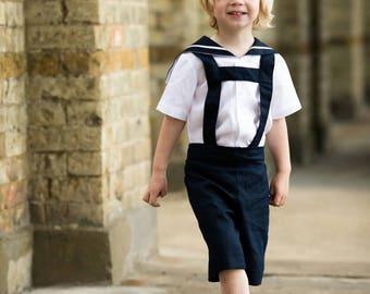 beach wedding, sailor suit, linen sailor suit, boys sailor suit, sailor shirt, page boy outfit, ring bearer suit,christening suit, page boy,