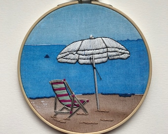 Watercolor Beach Chair and Umbrella Embroidery Art - HANDMADE