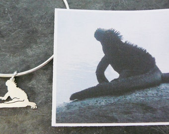 Custom TaGette Bangle Bracelet .. Iguana Portrait Sterling Silver Iguana silhouette Jewelry Keepsake