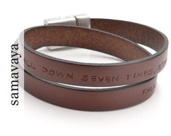 MY MESSAGE MEN man bracelet-engraved leather bracelet mens jewelry