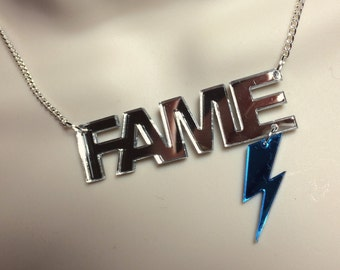 "laser cut silver mirror Acrylic ""FAME"" David Bowie tribute necklace"