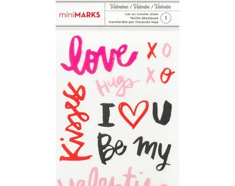 "American Crafts Valentine Rub-Ons 3.5"" x 5"" - Words"