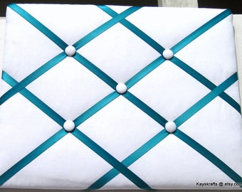 Turquoise Ribbon and White Memory Board French Memo Board, Fabric Ribbon Bulletin Board, Fabric Pin Board, Fabric Photo Bo...