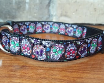Sugar Skulls Day of the Dead Large Dog Collar