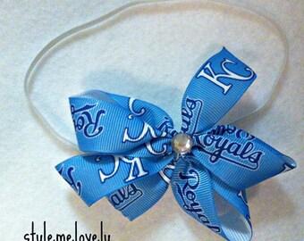 Kansas City Royals Baby Girl Boutique Bow Elastic Headband