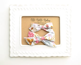 Periwinkle & Pink Floral Schoolgirl Hair Bow - Hand-tied hairbow-Evy bow -Cotton Baby Headband - Newborn Hairbow - Toddler Hair Clip