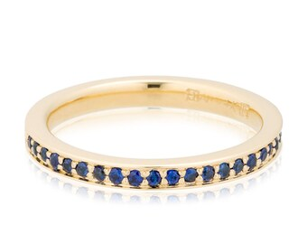 Blue Sapphire Anniversary Band, Blue Sapphire Engagement Ring