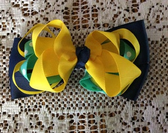 One (1) Yellow, Mint, and Navy Bow Hair Clip