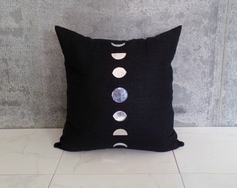 Moon Phases Pillow Cover on Black Natural Linen / Silver Moon Print Wax and Wane Metallic Shiny Reflective Neutral Natural Fiber Modern Moon
