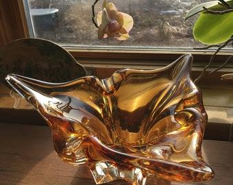 Vintage Chalet/Lorraine Art Glass Honey Amber Clear  Heavy Art Glass Modern Minimalist