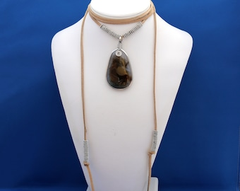 Leather Lariat Necklace, Agate Pendant Lariat Necklace, Agate Jewelry, Lariat Necklace, June Birthstone, 12th Anniversary,