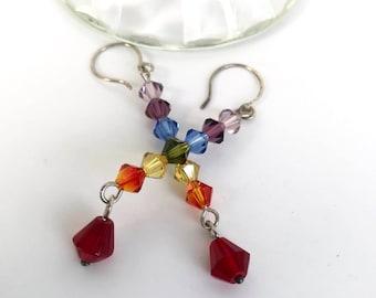 Chakra EARRINGS, Sterling Silver, Swarovski Crystals, Blue, Green, Yellow, Orange, Red, Purple, Dangles, Long Drop Earrings