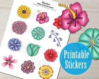 Flowers Printable Sticker Sheet PDF of 12 Hand Drawn Floral Stickers, Flower Clip Art and Digital Download Collage Elements by Windy Iris