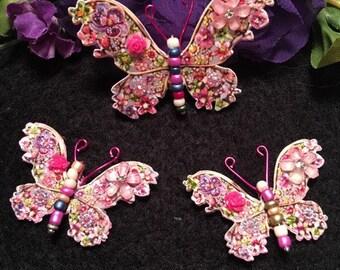 Jeweled Garden Mixed colors Beaded Body Butterflies DarlingArtByValeri Scrapbooking Embellishment Mini Album Card Hair Adornments
