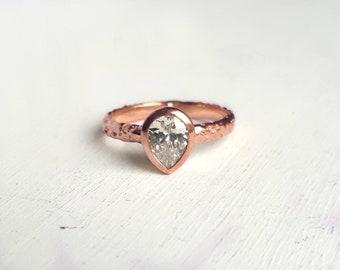 Rustic Rose Gold Moissanite Engagement Ring - Organic Textured Band - Teardrop Gemstone - Pear Bezel