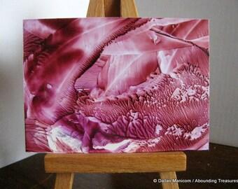 Marsala Caverns ACEO Encaustic (Wax) Abstract Original Painting.  Abstract Wax Art, Collectible Art. SFA (Small Format Art)