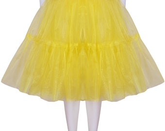 Gorgeous Yellow 25 inch 2 tier 2 layer Satin & Organza petticoat. Bridal Retro Vintage Rockabilly 50's style