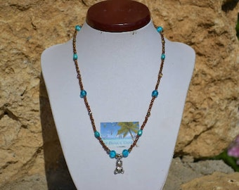 turquoise and Brown Girl bear necklace