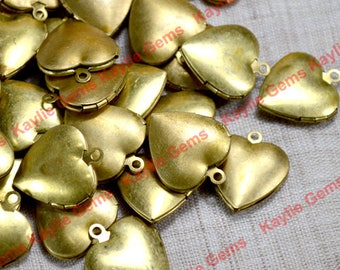 Whole Sale 100 pieces Heart Locket 20mm Raw Brass Plain Smooth