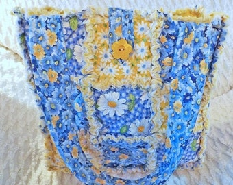 On Sale Blue and Yellow Daisy Rag Quilt Tote - Daisy Tote - Spring and Summer Tote - Handmade - Gift for her