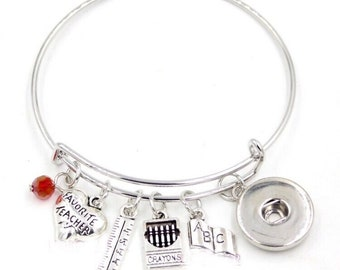 Teacher - Education - Themed Bangle Bracelet - Customize with one of Our Snaps - Includes Five Pictured Charms and Your Choice of Snap