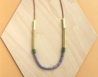 Dini Necklace  - Purple & Olive