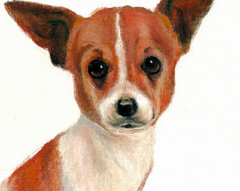 Original Oil DOG Portrait Painting CHIHUAHUA Artwork from Artist