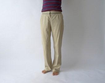 Women's High Waisted Informal Beige Striped Trousers High Waist Pants Wide Leg Pants Size Medium