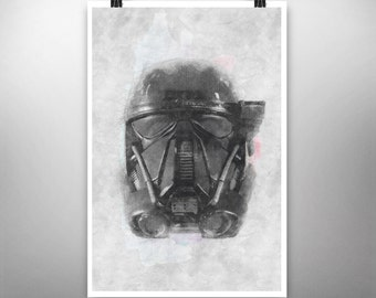 Star Wars: Imperial Death Trooper (Helmet Series) - Poster Art Print, Signed  (Original Artwork)