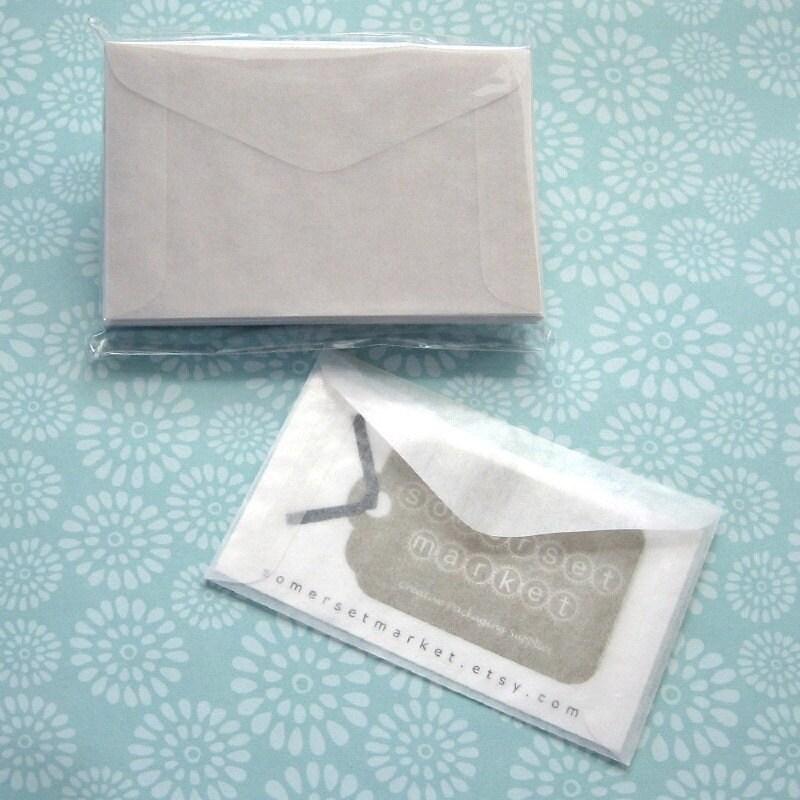 100 Mini Glassine Envelopes 3 5/8 x 2 5/16 inches Business