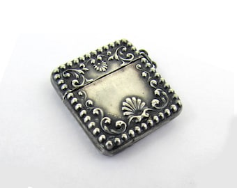 Antique Sterling Silver Stamp Case Box - Art Nouveau Repousse Design - ca 1900 - Wonderful for Pendant Reuse