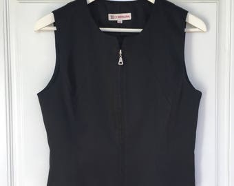 Women's vintage 90's black satin sleeveless zip up vest