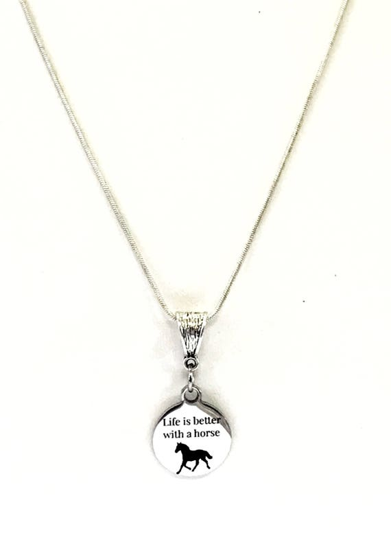Life Is Better With A Horse Silver Pendant Necklace, Horse Lover Jewelry Gift, Horse Therapy Gift, Horse Rider Gift For Her, Valentine Gift