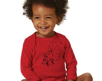 Baby Music Shirt, Long Sleeved Baby Onepiece, Cotton Infant Bodysuit, Long Sleeve, Victrola Shirt, Phonograph Bodysuit, Hand Printed Top
