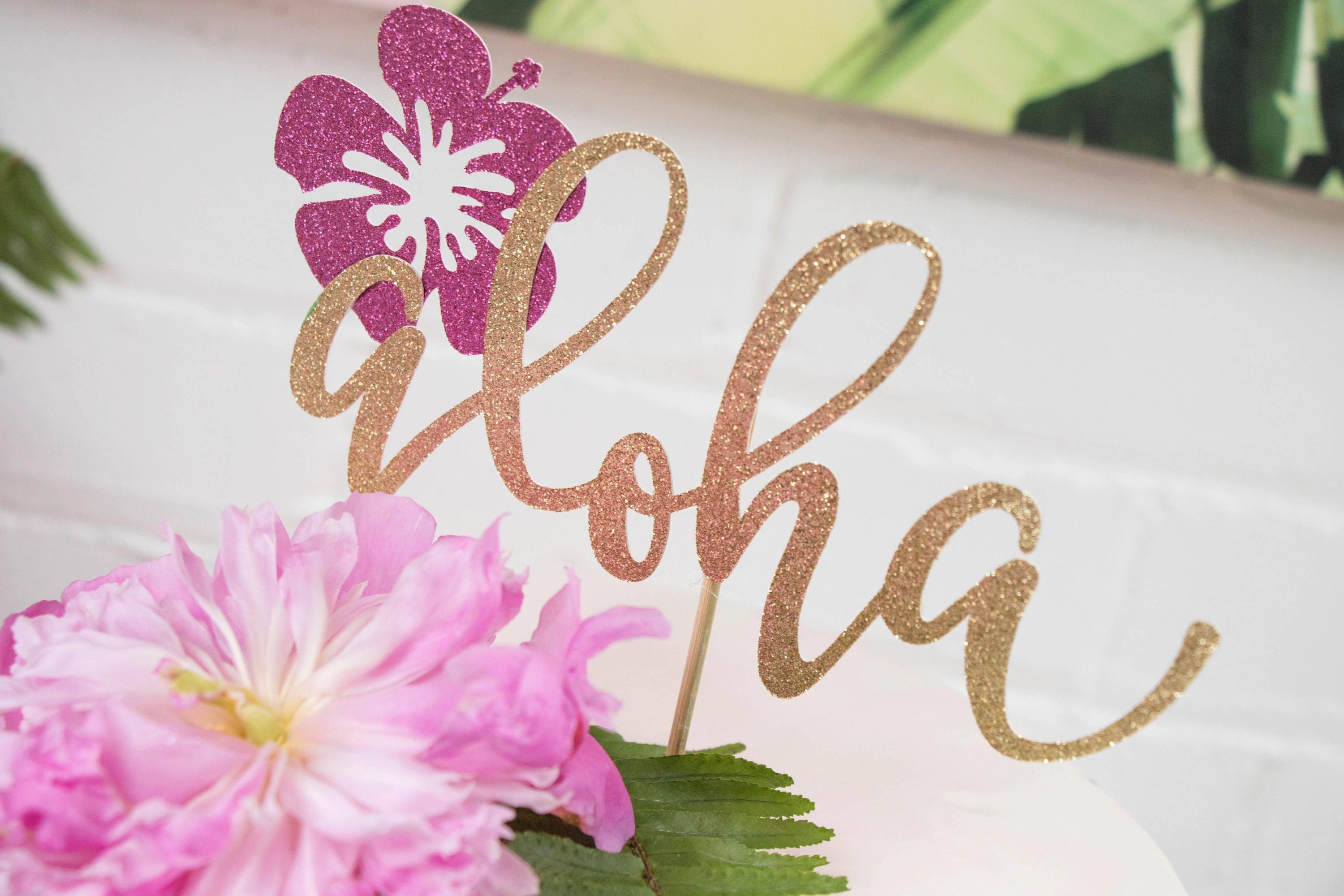 Aloha cake topper aloha theme party hibiscus cake topper sold by couronneboutique izmirmasajfo Gallery
