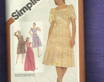 1980's Simplicity 5096 Flutter Sleeve Fitted Dresses Size 6