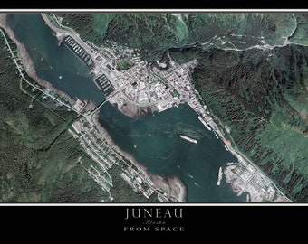 Juneau Alaska Satellite Poster Map