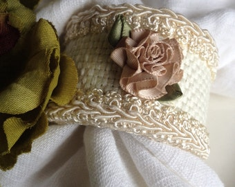 Floral Napkin Rings Pink & Cream Handcrafted Fabric Hand Crafted Set 4 - #27