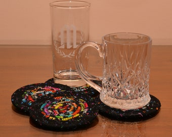 Fabric Rope Coiled: Black Multi Colored - Set of four (4) Coasters