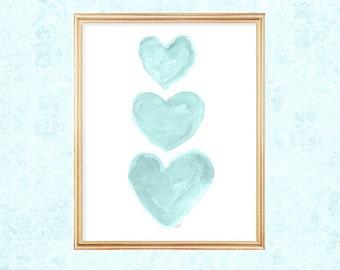 Aqua Blue Wall Decor, Girls Turquoise Wall Decor, Aqua Nursery Decor, 8x10 Watercolor Print, Aqua Wall Art, Turquoise Art, Aqua Nursery Art
