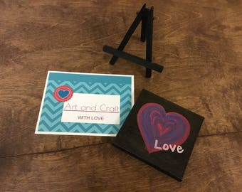 Love Heart Mini Canvas with Easel