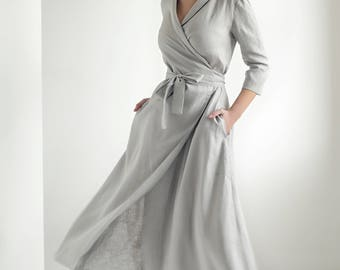 Linen Wrap Dress,Linen Dress Shawl Collar , Linen  Dress with belt, Summer Dress, Natural Linen Dress, Grey Wrap Dress, Long Linen Dress