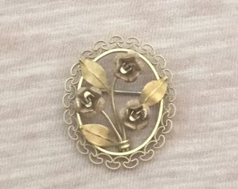 Krementz tri color gold filled rose pin