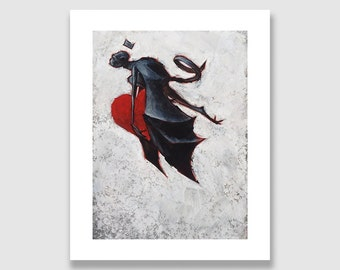 Flying Monkey Valentine. Fine Art Print. Simian creature with bat wings steals heart