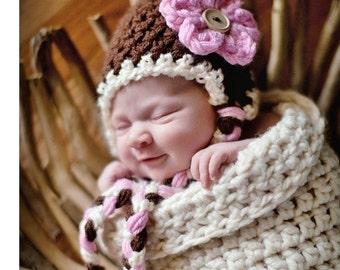 Neopolitan Pink Brown White Earflap Flower Beanie Hat